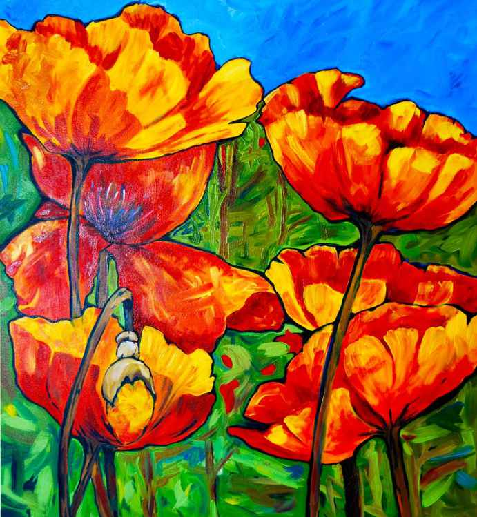 """Far and Wide, In Scarlet Tide, The Poppies Bonfire Spread"" from the Earth Laughs In Flowers series -"