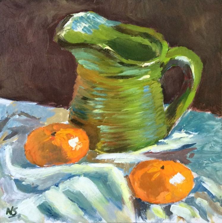 Green Jar with Oranges - Original Still Life in Oils - Image 0
