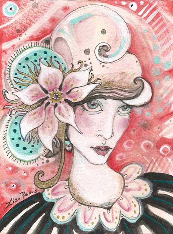 Magnolia Fashionista original mixed media painting Art Deco Vogue magazine style - Image 0