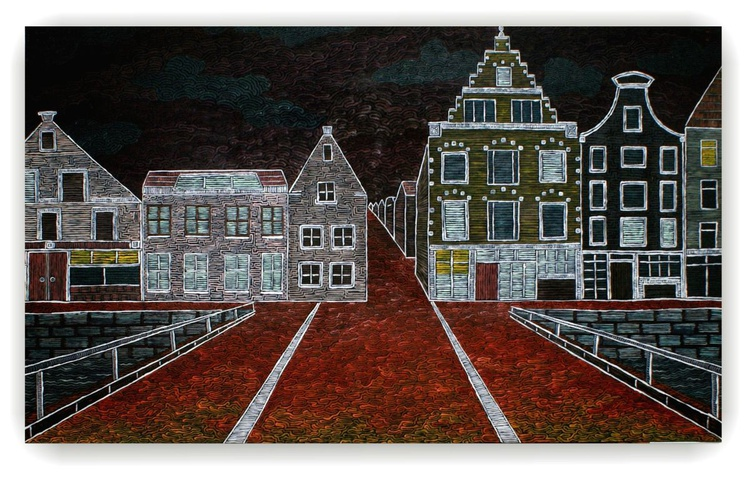''Amsterdam  houses on the dark''    100 X 70cm - Image 0