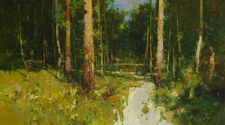 Through the Forest, Landscape oil painting,  One of a kind, Signed, Hand Painted - Image 0
