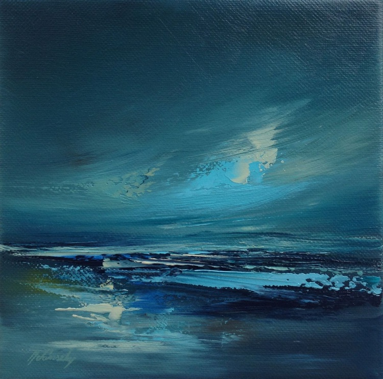 Dreamland I - 20 x 20 cm, abstract landscape oil painting, blue, - Image 0