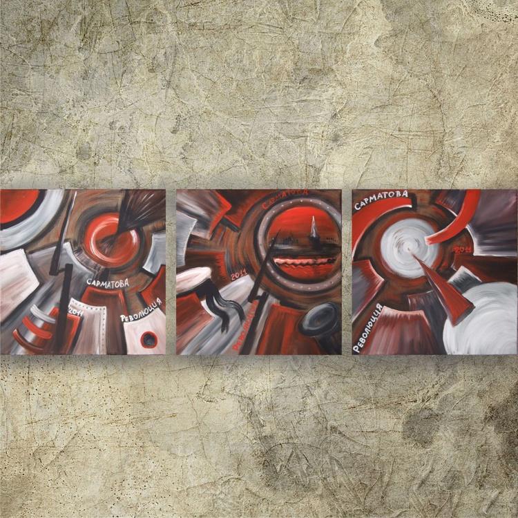 constructivism Revolution CUBISM paintings original abstract art 40x120x2 cm stretched canvas acrylic art cubist  wall art by artist Ksavera - Image 0