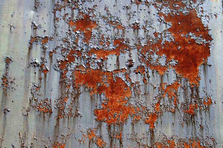 Red Rust Pattern on Oil drum by Russell Scott Skinner