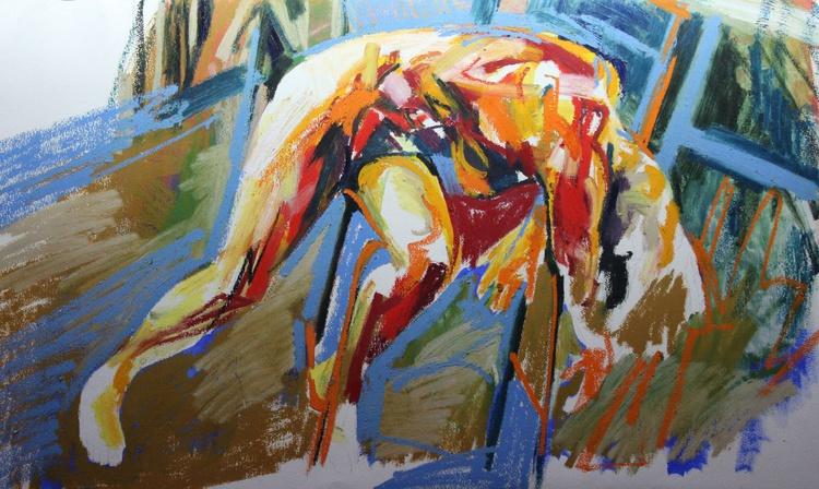 Slumped Figure - Oil Bar Study - Image 0