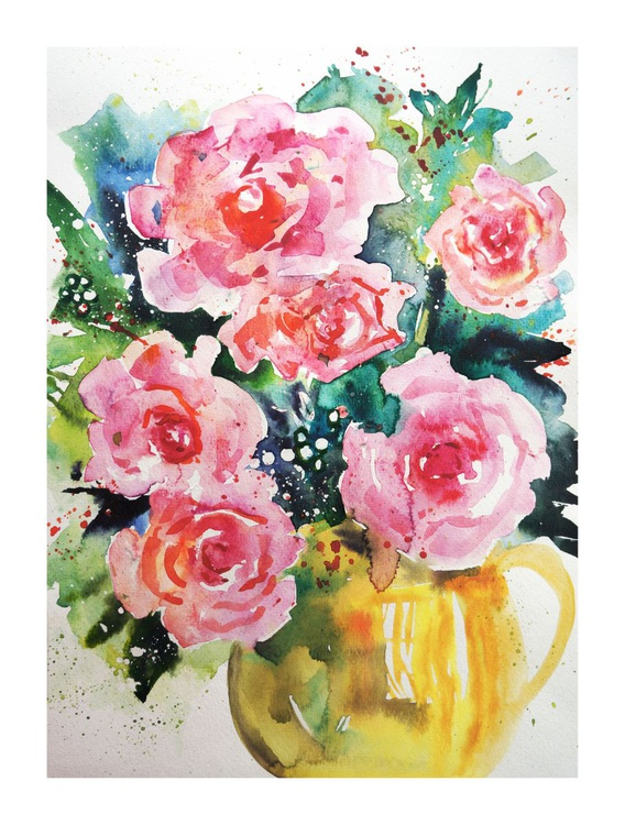 Pink Roses in a Yellow Jug - Image 0