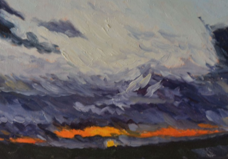Dramatic Dark and Moody Sunset Italian Landscape Oil Painting - Image 0