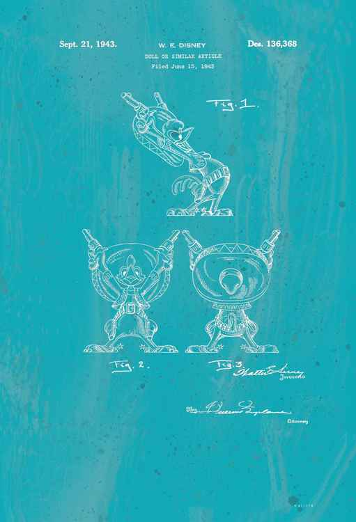 Disney Rooster character patent - Turquoise- circa 1943 -