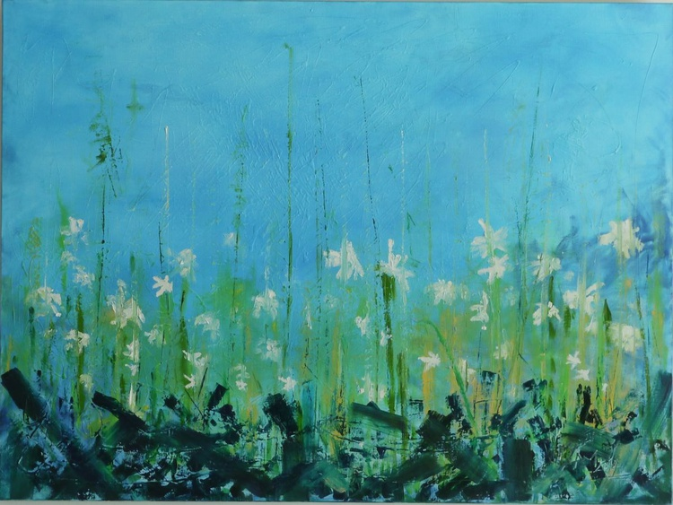 Spring abstract original oil fine art painting - Image 0
