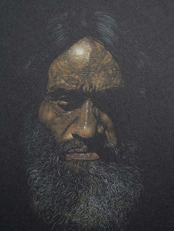 Face on black paper - Image 0