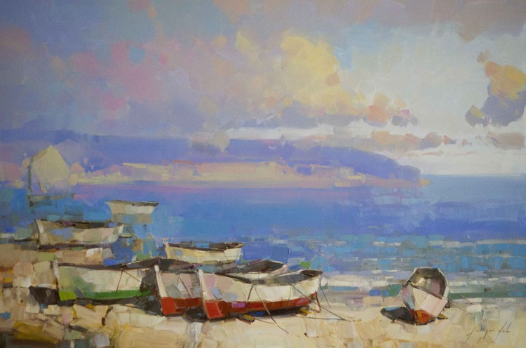 Boats on the Shore Handmade oil Painting One of a Kind Impressionism Signed Certificate of Authenticity - Image 0