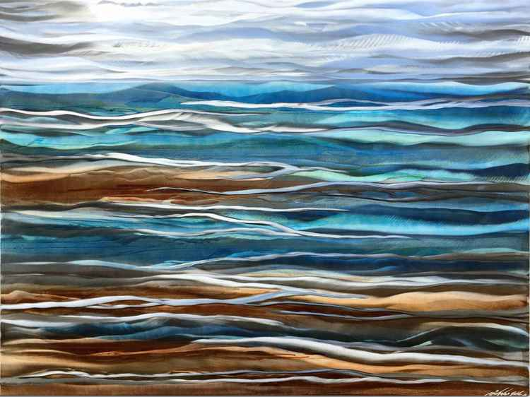 Beach Artwork 'Sea Breeze Composition' Coast Style Art | Wavy Grind Painting | Aquatic Color Wall Accent
