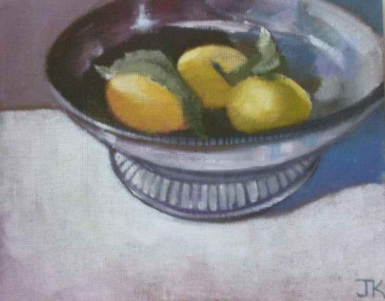 LEMONS IN SILVER BOWL