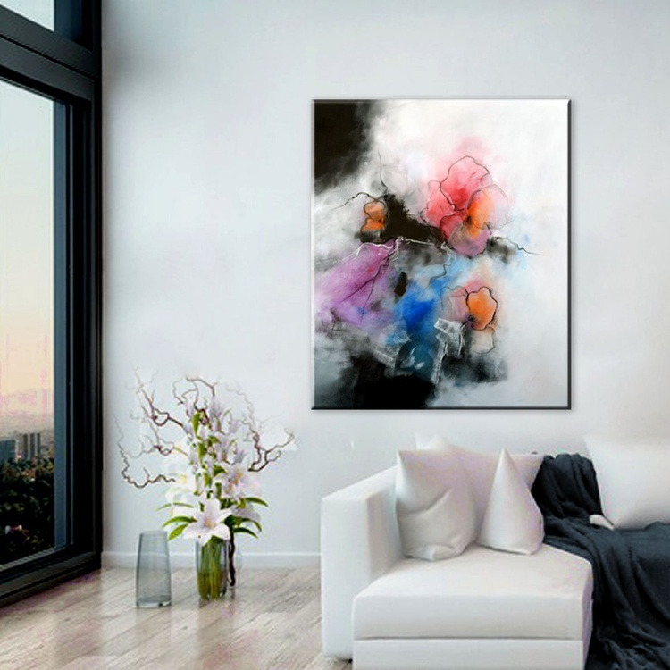 """""""Labor of Love """" Abstract floral painting, 30""""x36"""" abstract contemporary painting black, white, grey, red, purple, blue - Image 0"""