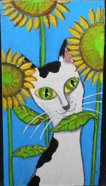 Black and White Cat Hiding in SunFlowers Original Painting on Wood