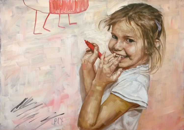 Young artist, 28x20 inches 70x50cm Gallery Quality linen canvas - Image 0