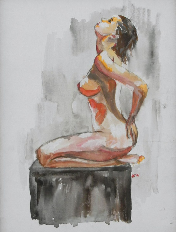 Original water colour female nude painting - Image 0