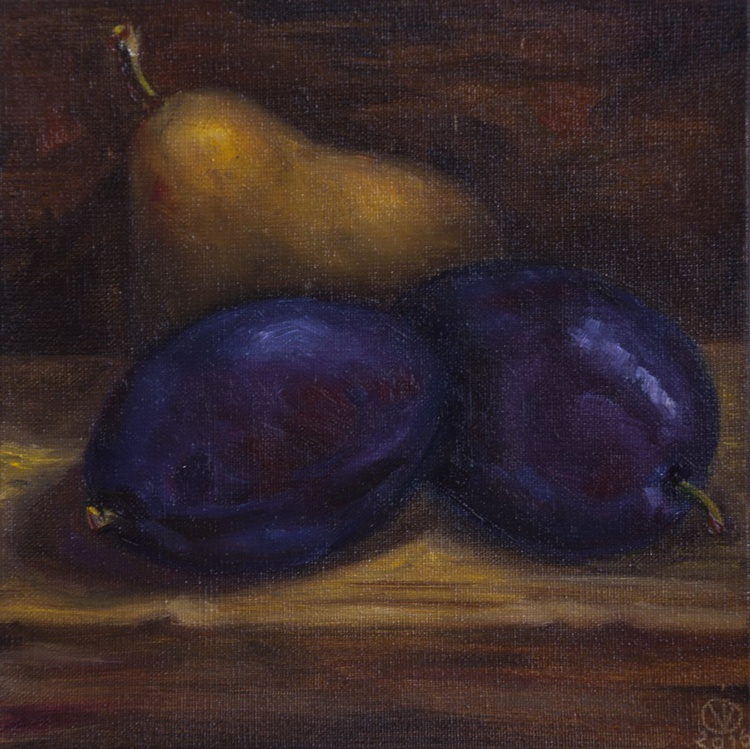 Plums & Pear (15x15cm) original oil painting still life realistic vintage style small gift kitchen decor (2016) - Image 0