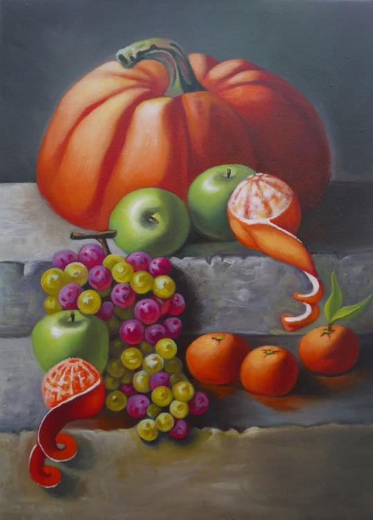 Still life with pumpkin apples and grapes - Image 0