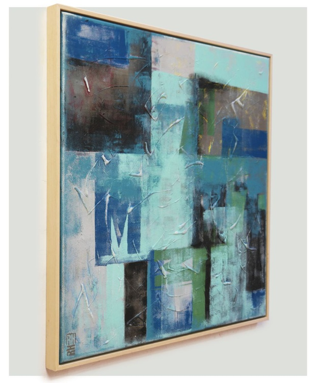 Typopop in blue & turquoise - Abstract artwork - 428 - Image 0