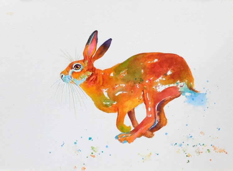 Hopalong Hare Watercolour - Image 0