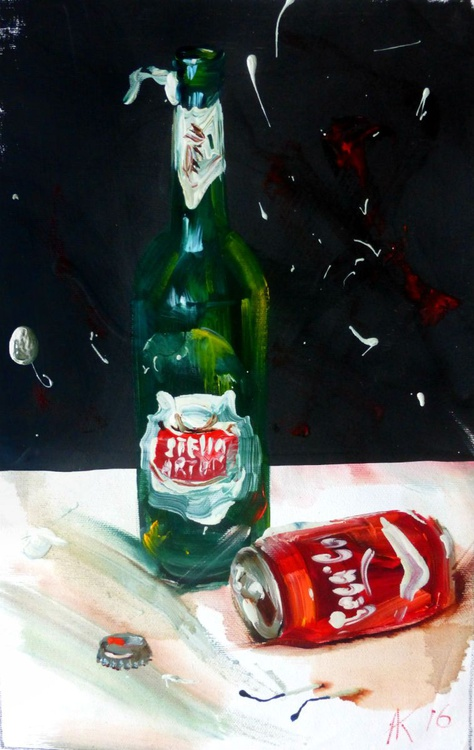 Beer or Coca Cola?, oil painting 25x40 cm - Image 0