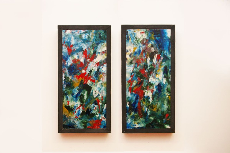Reflections i + ii (abstract painting pair) - Image 0