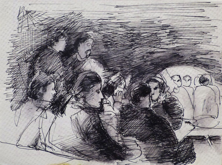 Musical Evening in the Bolognian Osteria, life drawing on paper napkin, 20x15 cm - Image 0