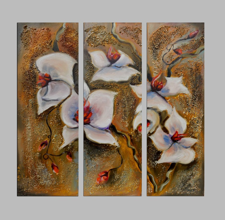 Orchids Triptych Painting Set - Image 0