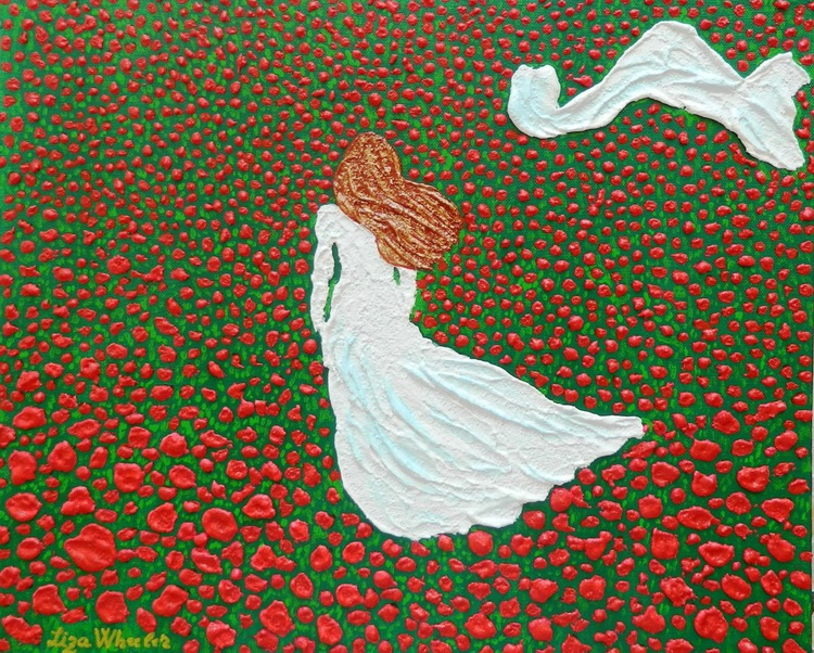 Poppy Fields Forever - Original, modern impressionist poppy floral fantasy impasto painting - Image 0