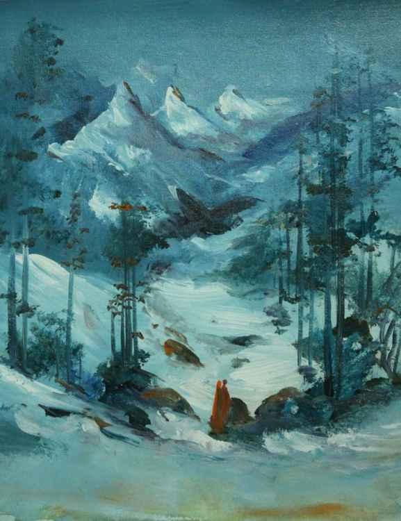 himalaya landscape painting original art work for home decor -