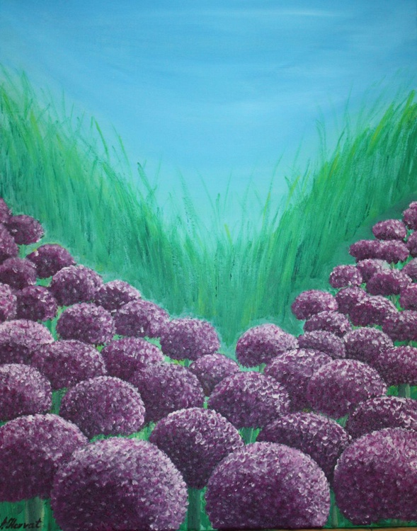 Field of alliums 40x50cm - Image 0