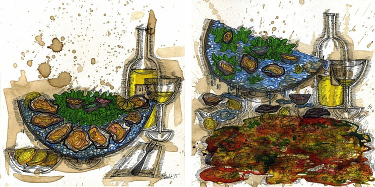 Still life with unfresh oysters and white wine. Before and after. - Image 0