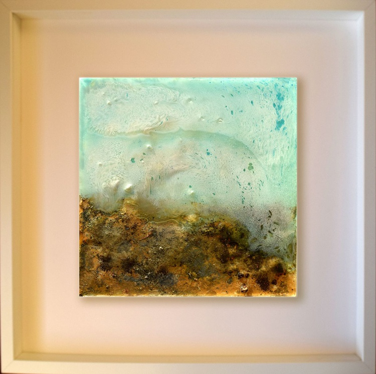 Sand and water  / Abstract / Mixed Media on wooden box - Image 0