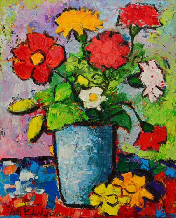 ABSTRACT SUMMER FLORAL IMPRESSION - palette knife oil painting - Image 0