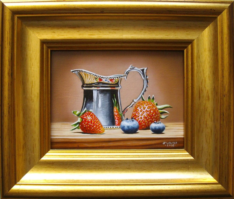 Strawberries with silver creamer - Image 0