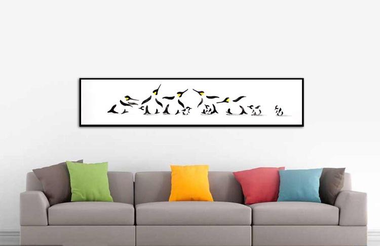 Five penguins and five chicks 15030AR (150 x 30 cm) - Image 0