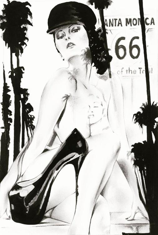 """Santa Monica Stiletto"" - original ink and pencil drawing - Image 0"