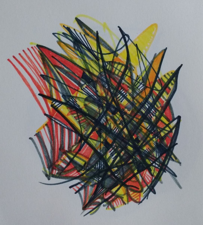Orange & Yellow Sparkling Energy Drawing (13cm x 14cm) - Image 0