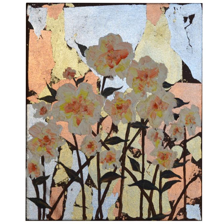 "WHITE  FLOWERS  - ORIGINAL FLORAL OIL PAINTING IMPASTO WALL ART HOME DECOR 10 x 12 "" - Image 0"