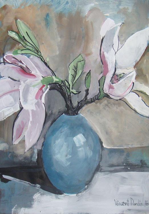 Magnolia blossom in oval pot - Image 0