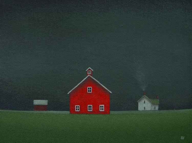 Little Farm Under a Stormy Sky -