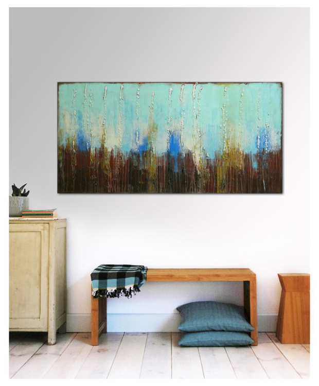 Abstract Painting - Landscape Turquoise & Brown - B7 - Image 0