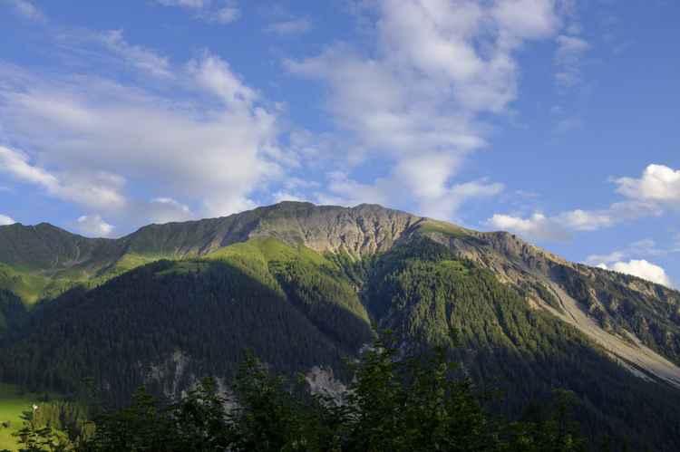 Grisons mountains in Graubünden, Wiessen -