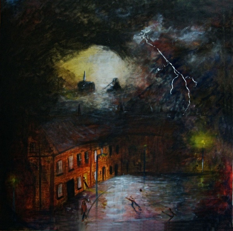 Thunderstorm (Oil on Canvas 39x39 inch) - Image 0