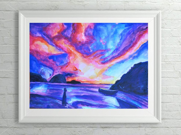 "Abstract Fantasy Landscape Painting - ""Fire"" Acrylic on Canvas Paper - Image 0"