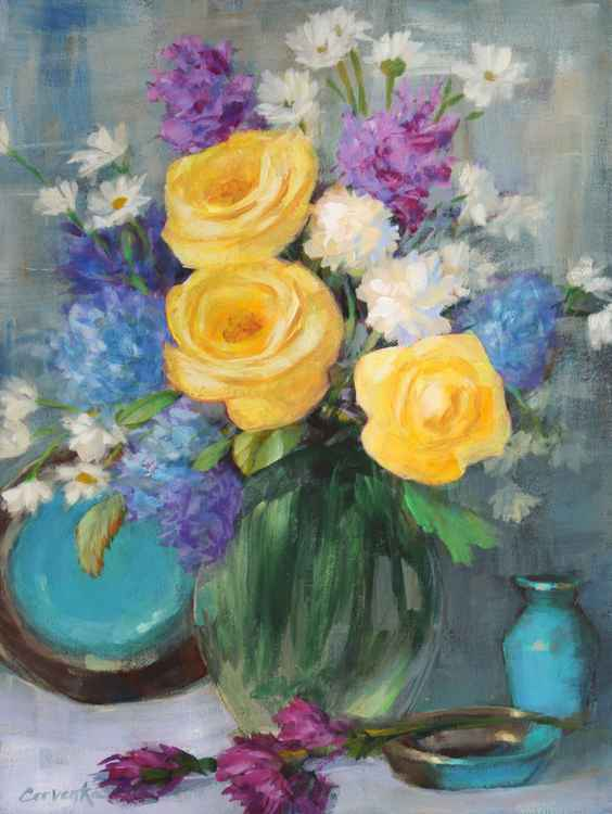 Yellow Roses with Turquoise