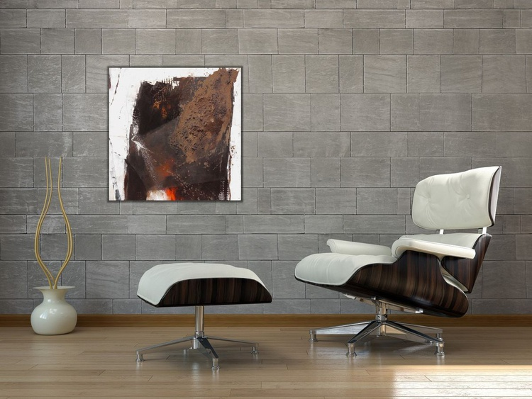 The Gateway #2 | abstract | brown white orange | Acrylic, Mixed Media, Collage - Image 0