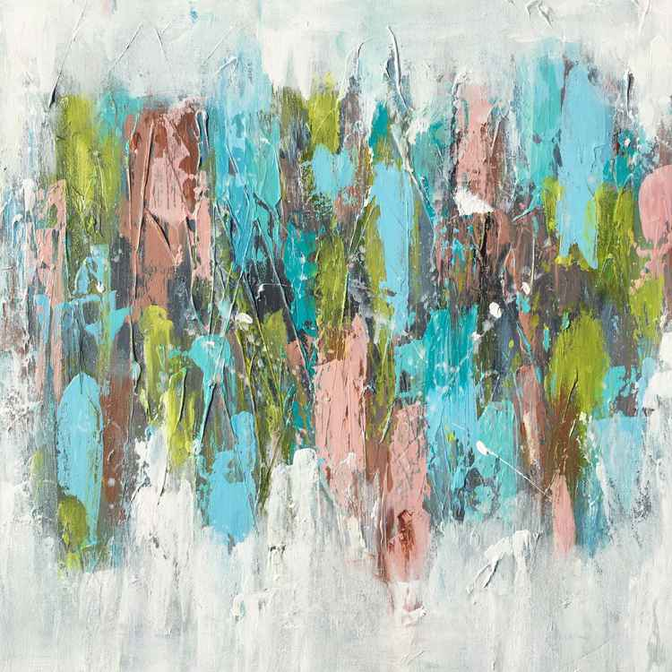abstract in gray, aqua, lime -