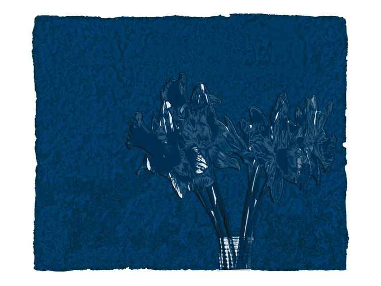 """Blue Daffodils in an IKEA Glass"" -"